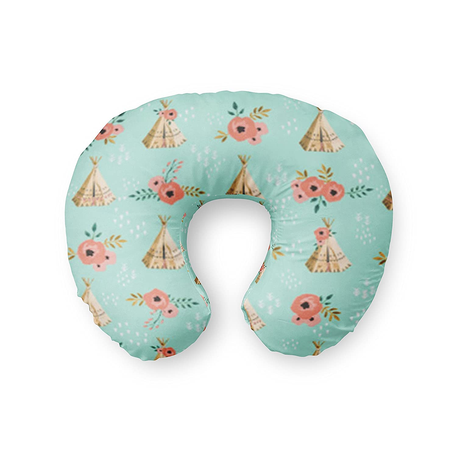 Nursing Pillow Cover in Mint Teepees with coral floral - Handmade in the USA by Twig + Bird Twig+Bird FHTBOP