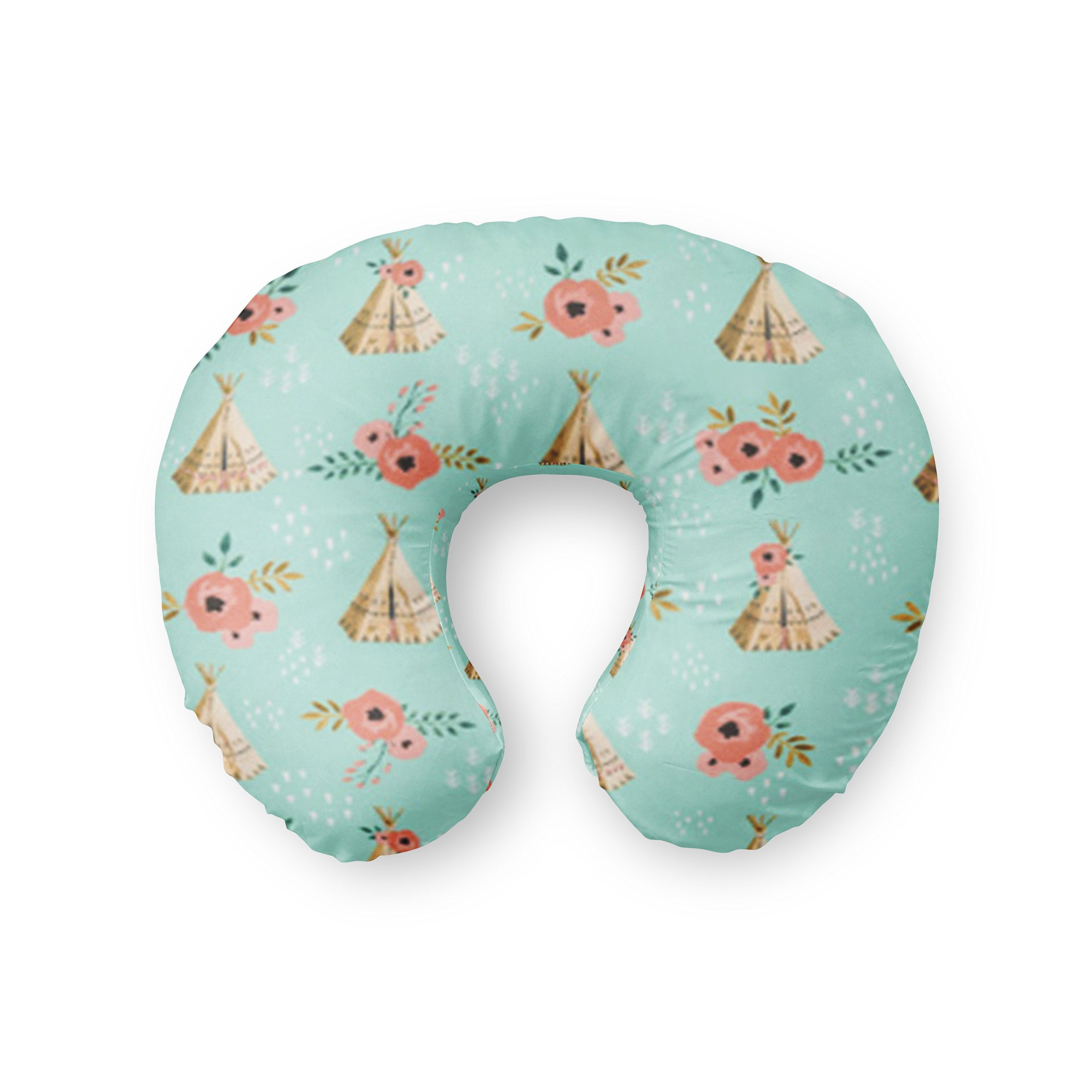 Nursing Pillow Cover in Mint Teepees with coral floral - Handmade in the USA by Twig + Bird