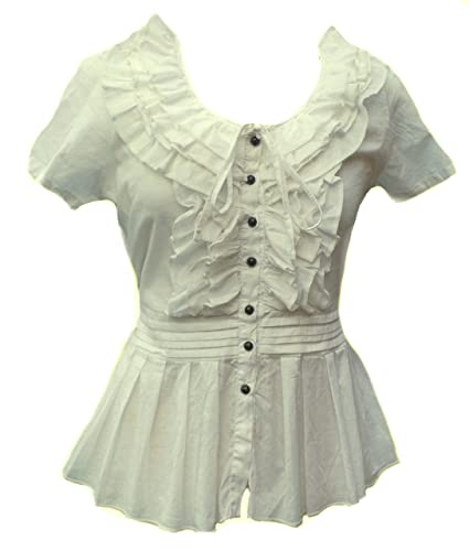 Forest Blanco Sheer Algodón Volante Blusa Camisa Túnica Victoriana Steampunk Trabajo Lolita