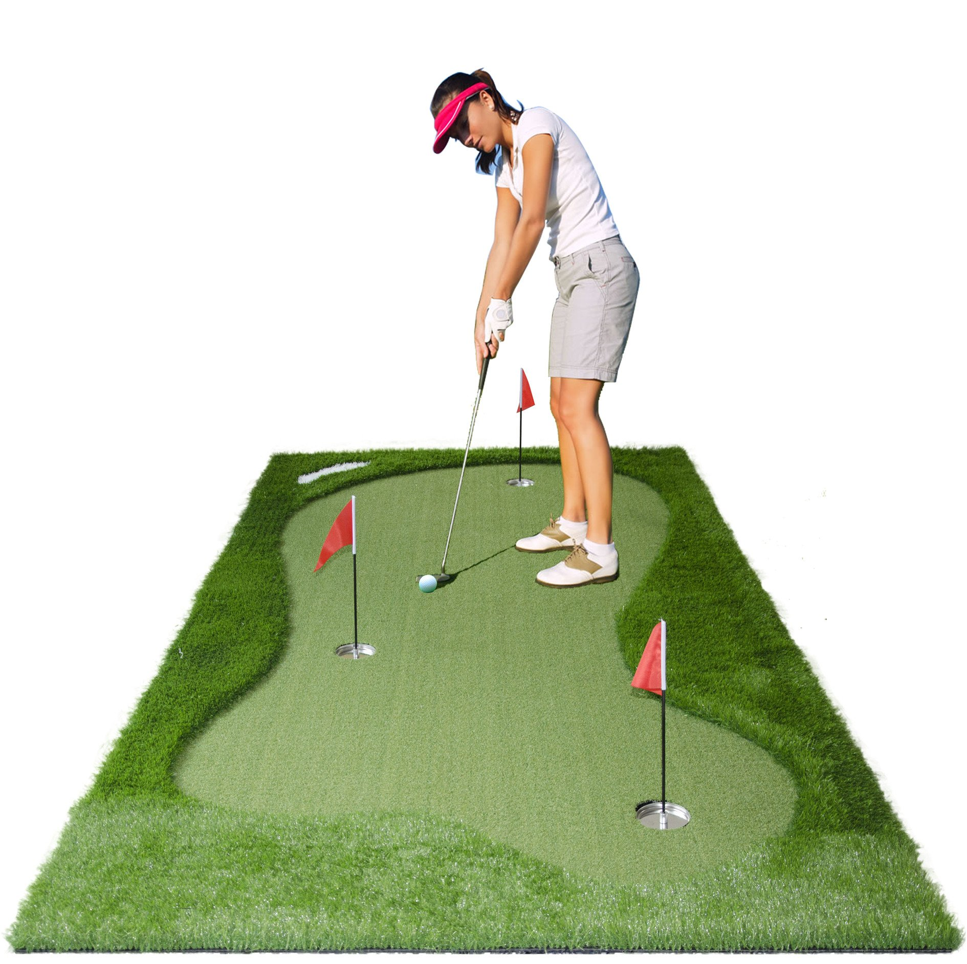 77tech Golf Putting Green System Professional Practice Large Indoor/Outdoor Challenging Putter Made of Waterproof Rubber Base Golf Training Mat Aid Equipment (5'x10' upgrade1)