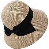 Ladies Summer Straw Sun Hat Wide Brim Panama Foldable Beach Fedora Floppy for Women Beige Mix