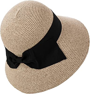 Women/'s summer Floppy Fedora wide Brim Straw hats vacation travel Packable Hat