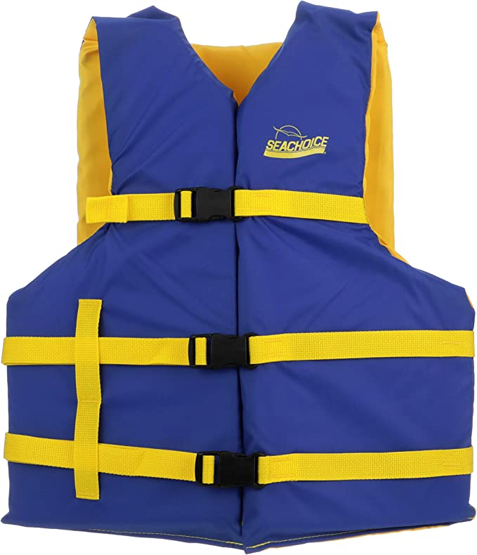 Seachoice 86240 Level 70 Life Jacket Adjustable Boat Vest Blue Yellow Xl Adult Over 90 Pounds Sports Outdoors Amazon Com