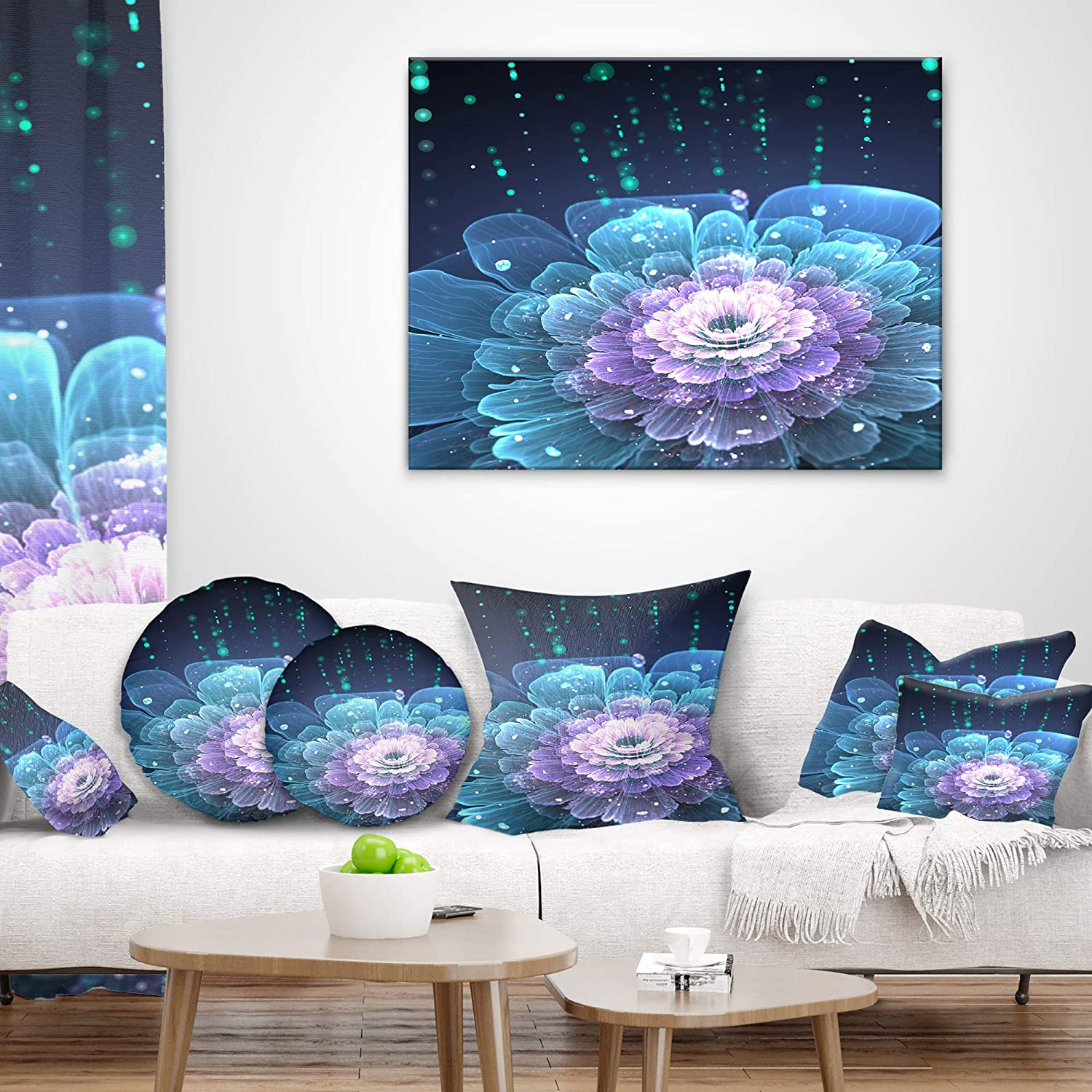 Insert Printed On Both Side Designart CU8849-20-20-C Fractal Flower with Water Drops Floral Round Cushion Cover for Living Room Sofa Throw Pillow 20