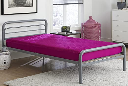 DHP Value 6 Inch Polyester Filled Quilted Top Bunk Bed Mattress Twin Pink