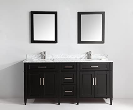 Vanity Art 72 Inch Bathroom Vanity Set with Carrara Marble Stone with Free  Mirror VA2072-DE