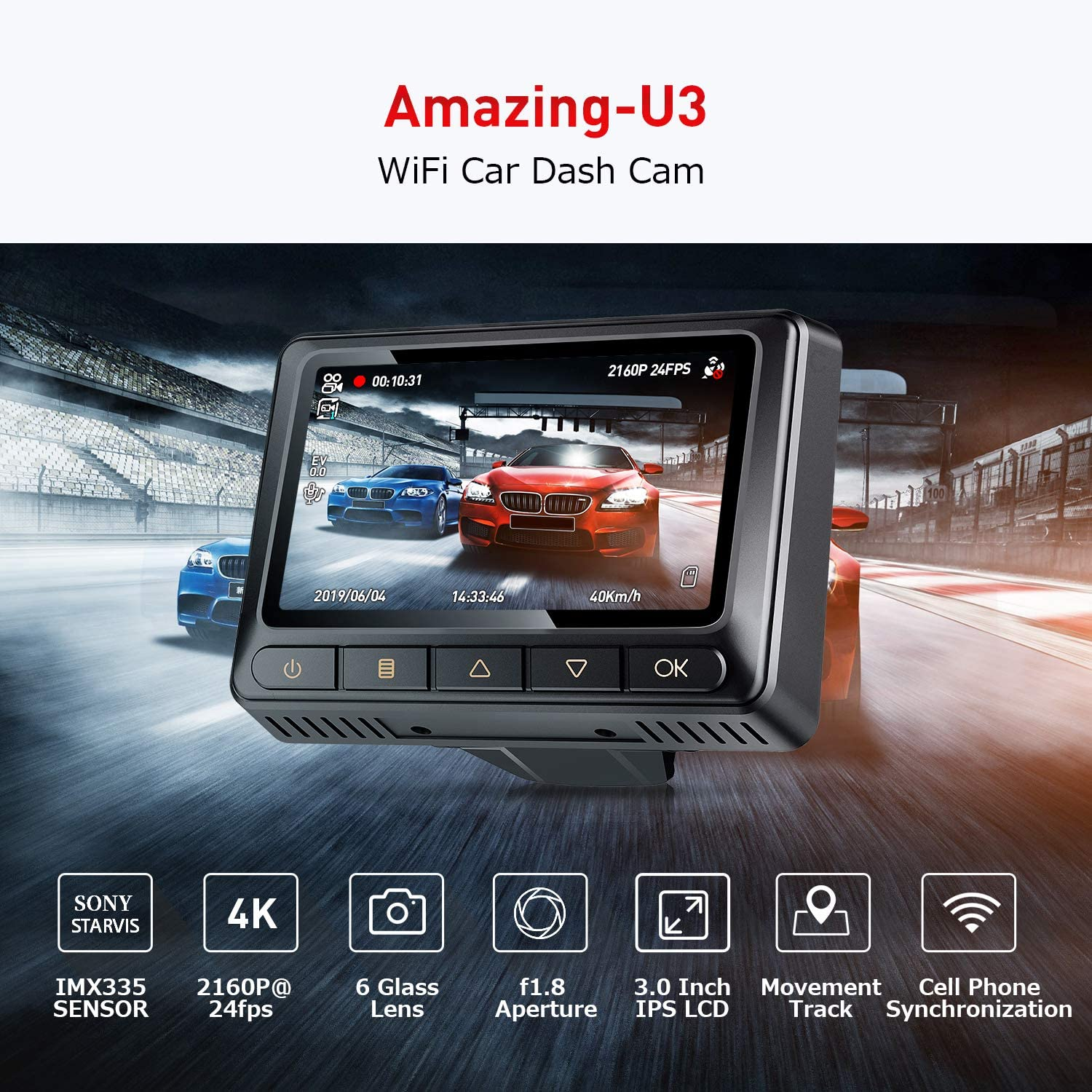 Oasser Dash Camera Car Dashcam FHD 2880-2160P 3.0inch LCD Dashboard Camera Recorder with GPS WiFi Parking Mode Support for Sony IMX335 Video Sensor 128G Max G-Sensor WDR Loop Recording