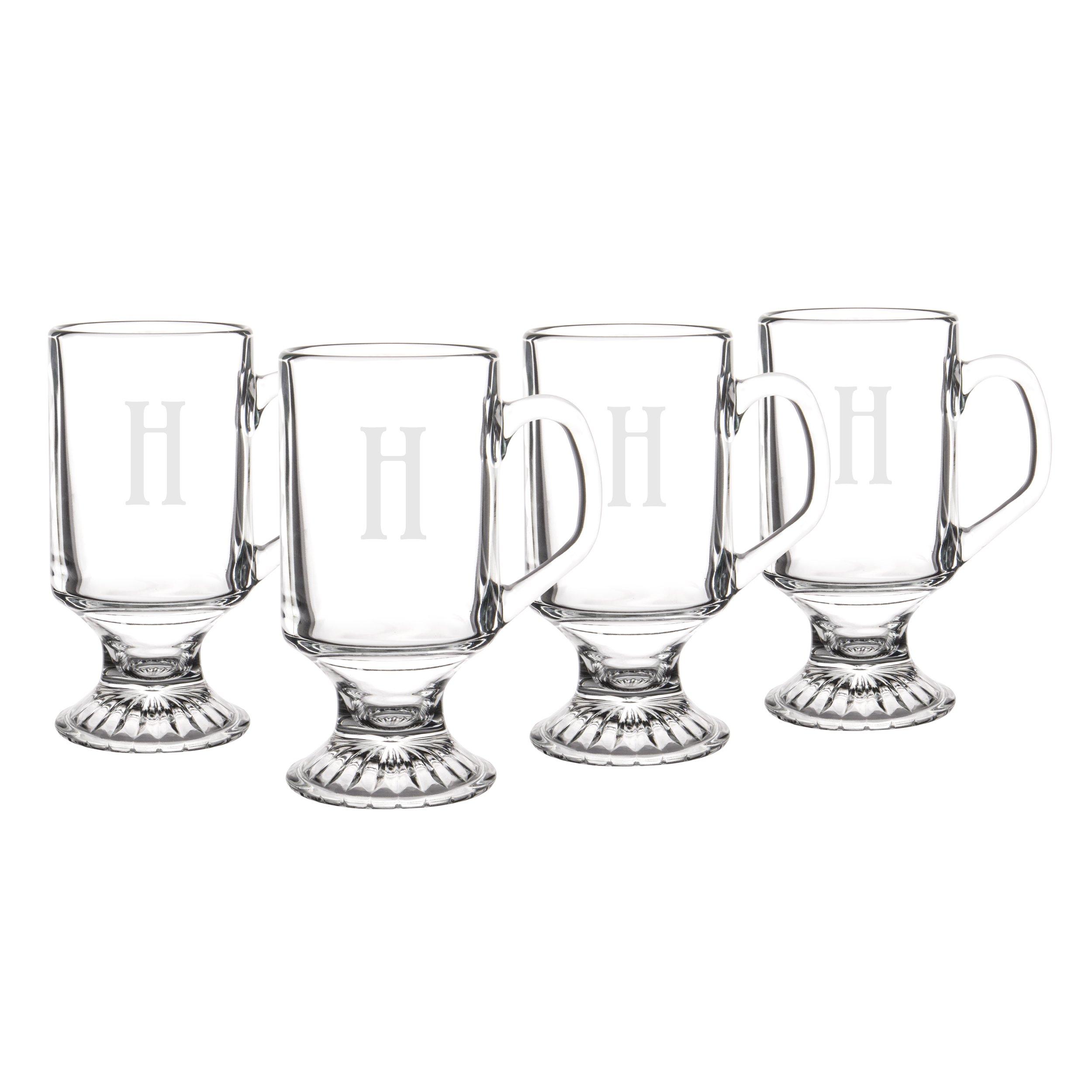 Personalized Irish Glass Coffee Mugs, Set of 4, Letter H