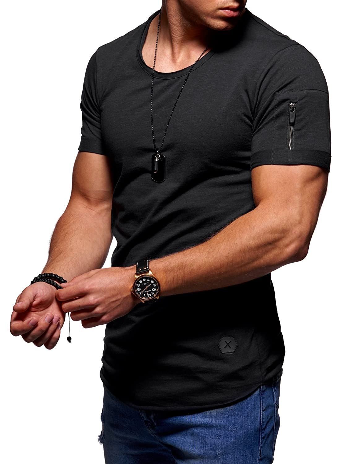 Boiiwant Mens Casual T-Shirt Round Neck Solid Color Short Sleeve Tops Slim Fit Blouse