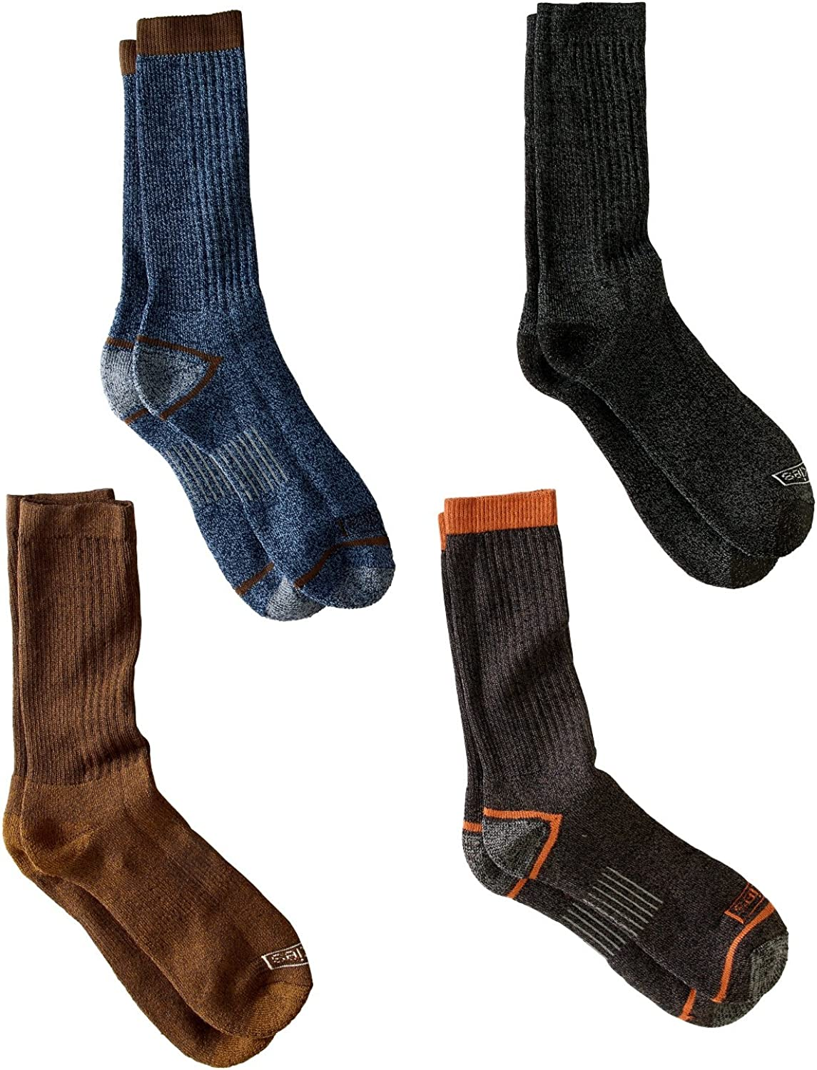 Dickies Men's 4 Pairs Cotton Blend Crew Performance Work Socks 6-12 - Assorted
