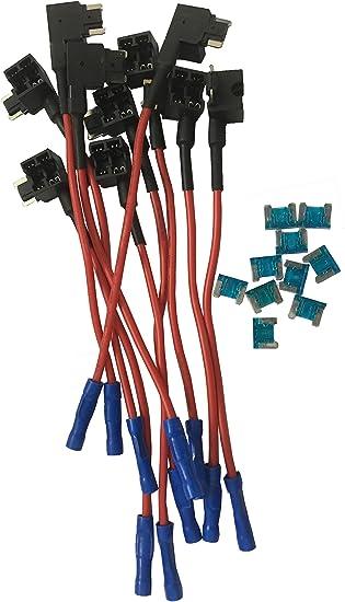 5 Pieces 15Apm Mini Fuse KOLACEN Automotive Car Truck 5 Pieces 16 Gauge Add-a-circuit Fuse TAP Adapter for Mini Blade Type Fuse