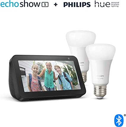 Echo Show 5, negro + Philips Hue White Pack de 2 bombillas LED ...