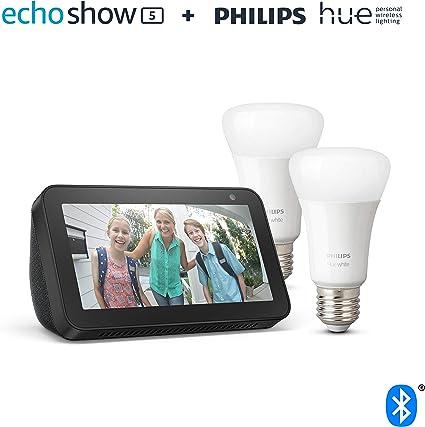 Echo Show 5, Schwarz + Philips Hue White LED Lampe Doppelpack (E27), kompatibel mit Bluetooth und Zigbee (kein Hub erforderlich)