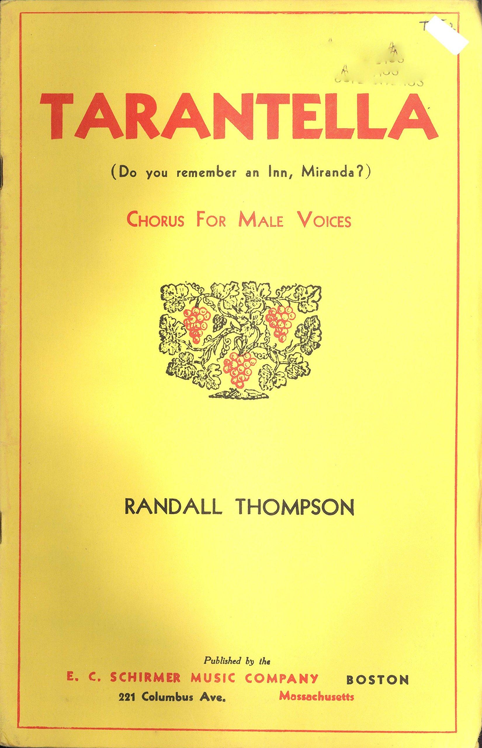 tarantella do you remember an inn miranda chorus for male voices