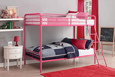 Amazon Com Dhp Twin Over Twin Bunk Bed With Metal Frame And Ladder Space Saving Design Pink Furniture Decor