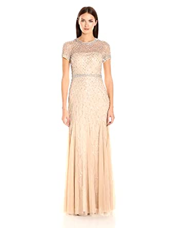778208f6 Adrianna Papell Women's Short-Sleeve Beaded Mesh Gown, Champagne, ...