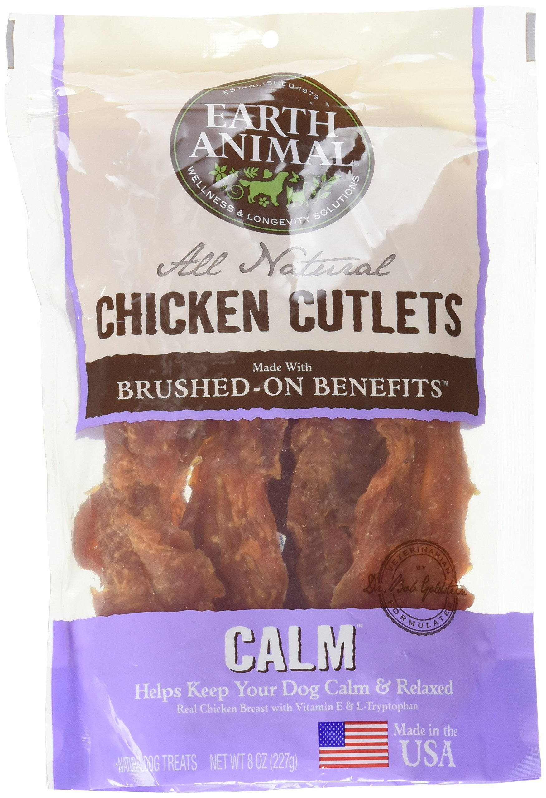 Earth Animal Calm USA Chicken Jerky Dog Treats, 8 Ounces