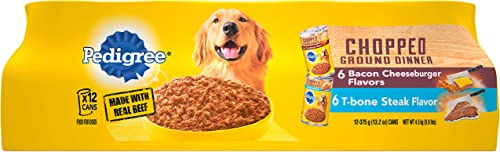 Pedigree Chopped Ground Dinner T-Bone Steak Flavor and Bacon Cheeseburger Flavors Adult Canned Wet Dog Food Variety Pack