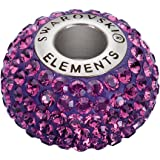 Swarovski Elements Breloque pour bracelet de type Pandora en cristal de Swarovski et acier inoxydable 14x4,5mm