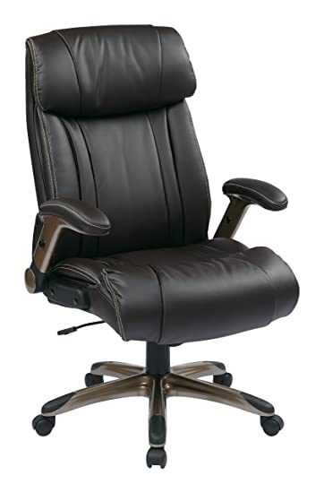 Great Office Star High Back Bonded Leather Executives Chair With Padded Flip Arms  And Cocoa Coated Accents