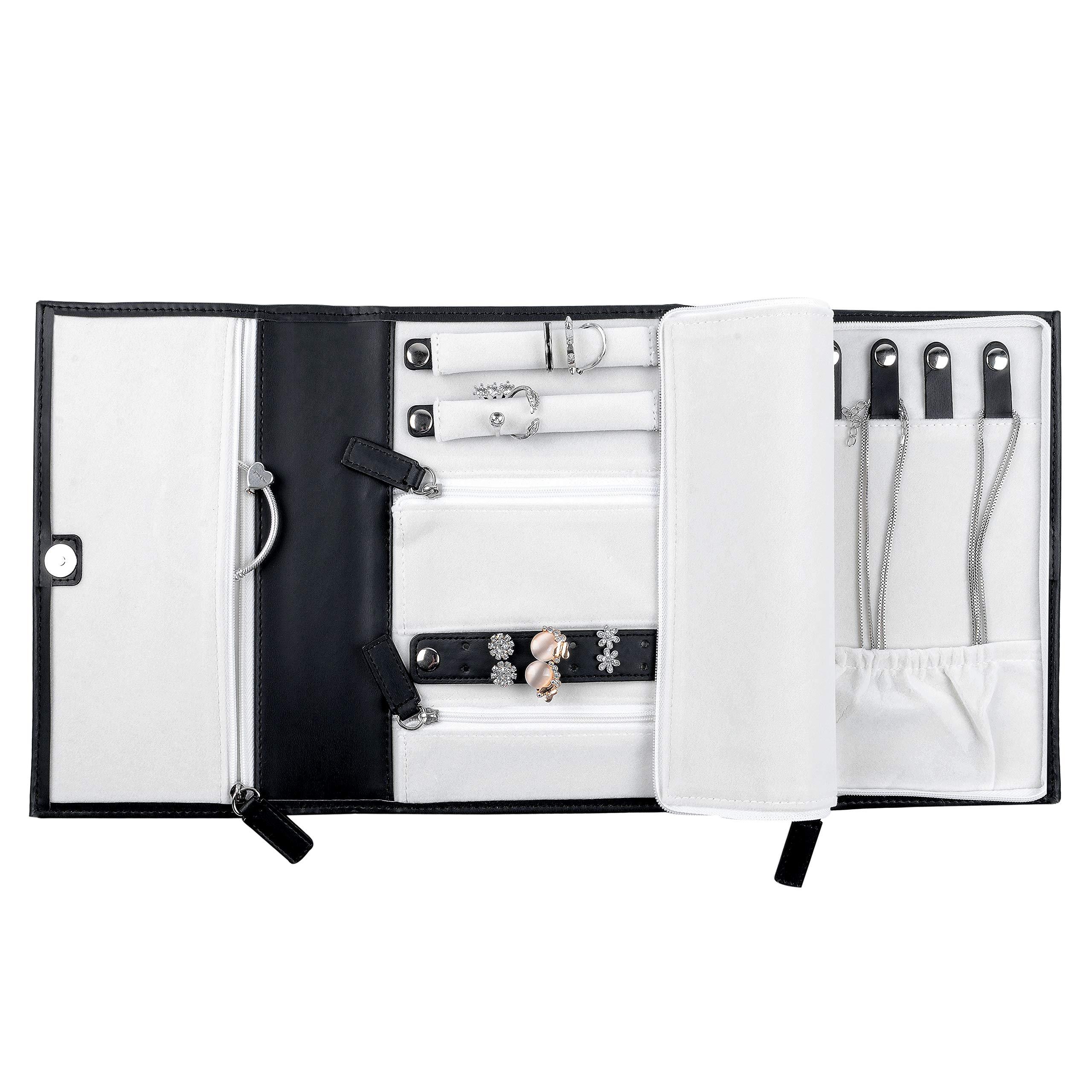 ONLVAN PU Leather Travel Jewelry Case - Jewelry Organizer (Triple 8.26''×6.29''×1.18'', Black) by ONLVAN