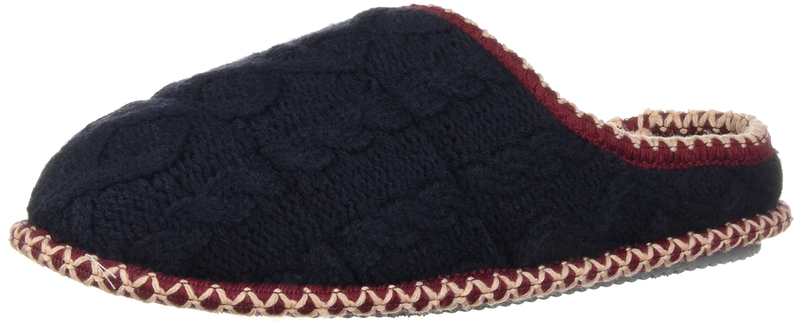Dearfoams Women's Quilted Cable Knit Clog Slipper, Peacoat, L Regular US