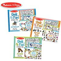 """Melissa & Doug Seek & Find Sticker Pad 3 Pack, Around Town, Adventure, Animals, Each Includes 400+ Stickers, 14 Scenes to Color, 14"""" H X 11.1"""" W X 0.2"""""""