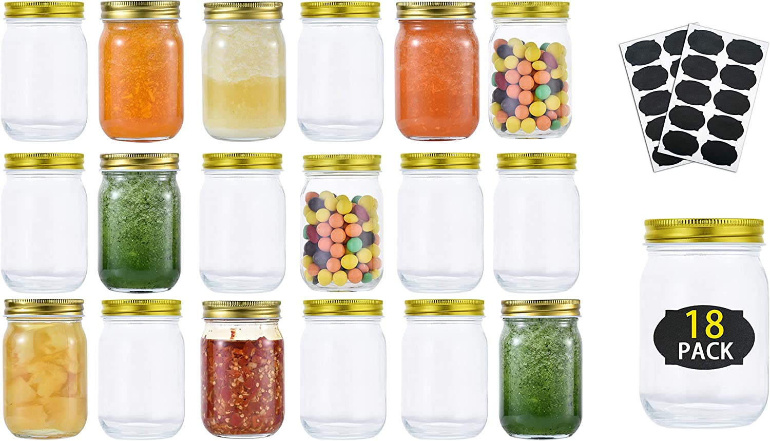 Glass Mason Jars (18 Pack) - 12 Ounce Regular Mouth Jam Jelly Jars, Metal Airtight Lid, Pickling, Preserving, Decorating, Canning Jar, Craft and Dry Food Storage With 20 Labels