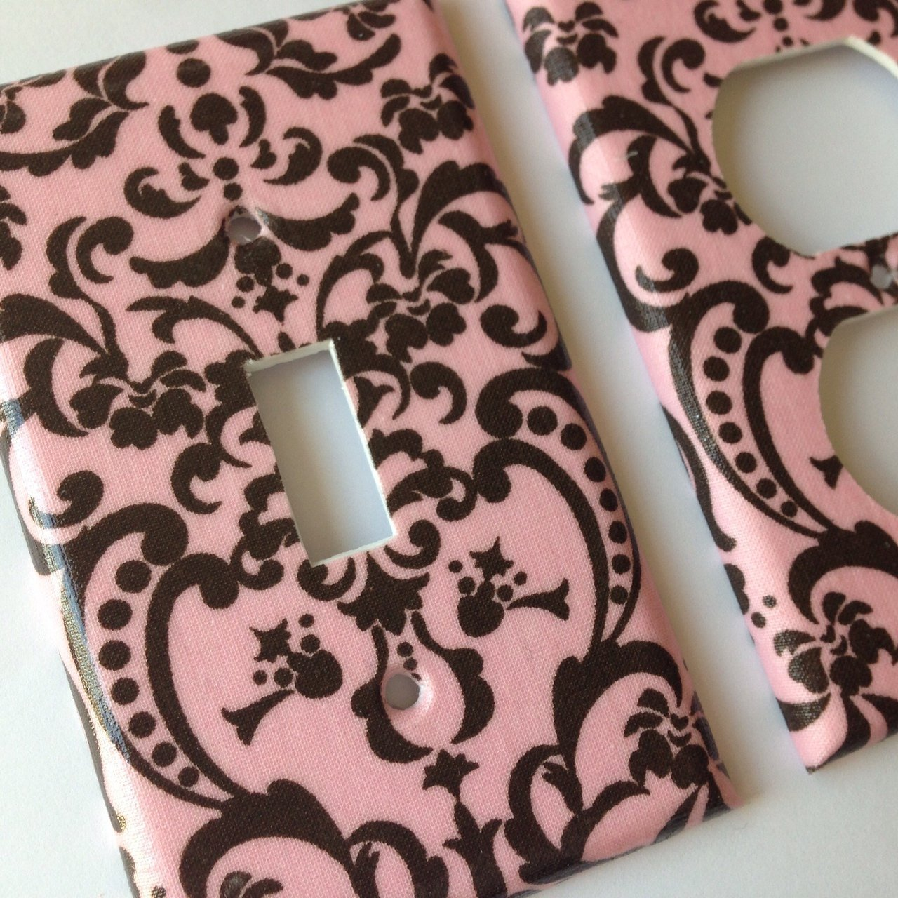 Pink Brown Damask Light Switch Cover- Various Sizes Offered