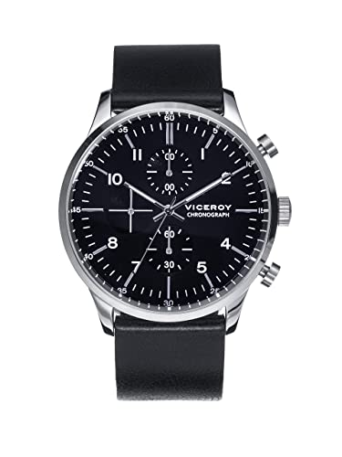 Reloj Viceroy de Hombre. Correa de piel de color negro. Esfera redonda de color negro.: Amazon.es: Relojes