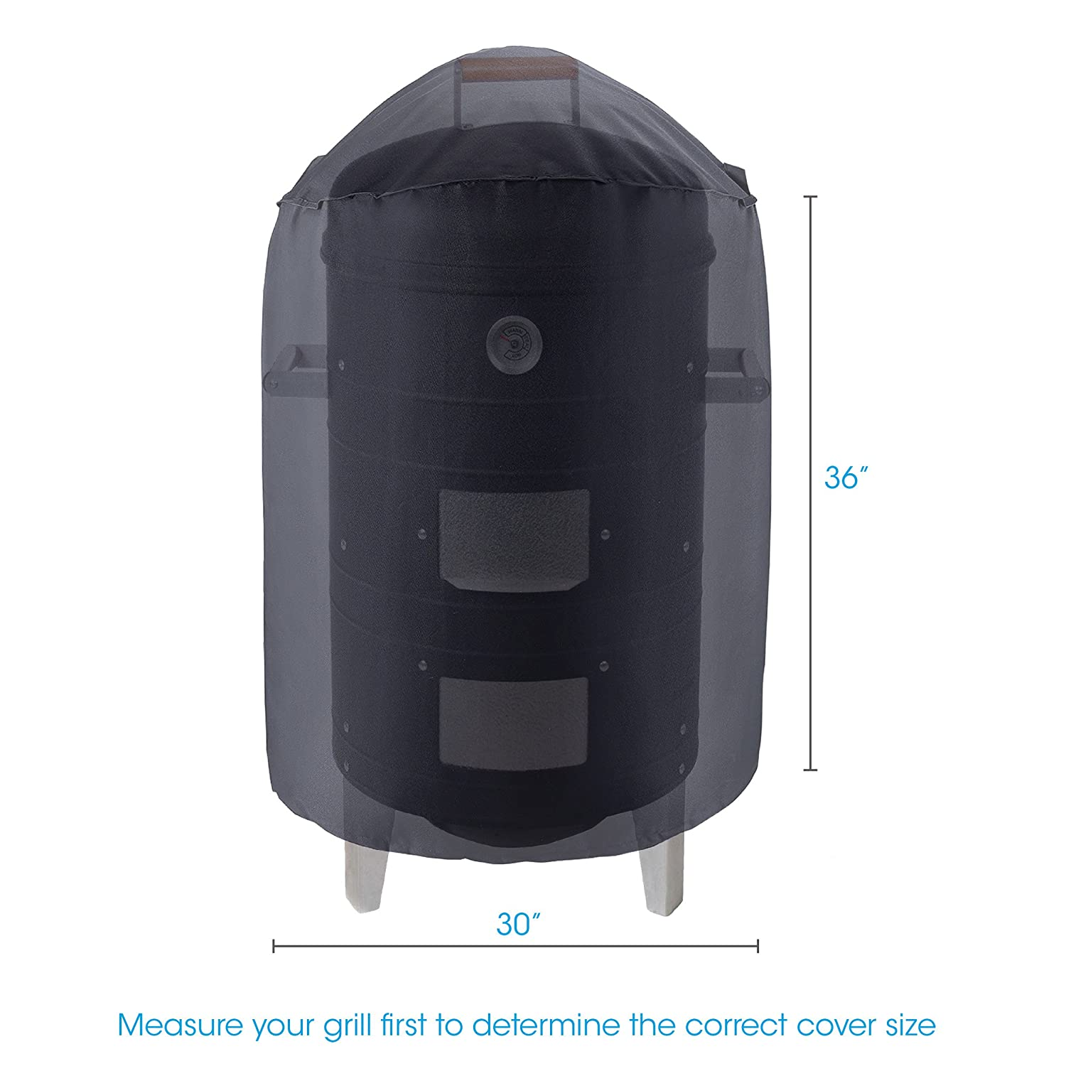 Unicook Heavy Duty Waterproof Dome Smoker Cover,30Dia by 36H,Kettle Grill Cover,Barrel Cover,Water Smoker Cover,Fade and UV Resistant Material,Fit Grill/Smoker for more 30Dia by 36H Homepro Manufacturing
