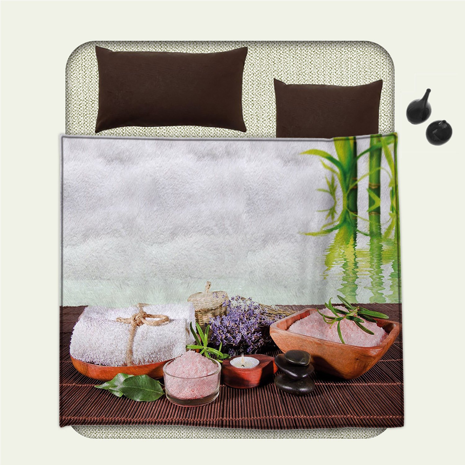 smallbeefly Spa travel blanket Bamboo Background with Towel Flowers Candled and Zen Hot Massage StonesFlannel blanket Green White and Brown