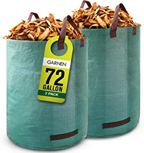 Garnen 72 Gallon Garden Waste Bags (2 Pack), Heavy Duty Reusable/Collapsible Leaf Bags with 4 Reinforced Handles for Lawn Yard Pool Plant Trash Trimming Gardening Containers