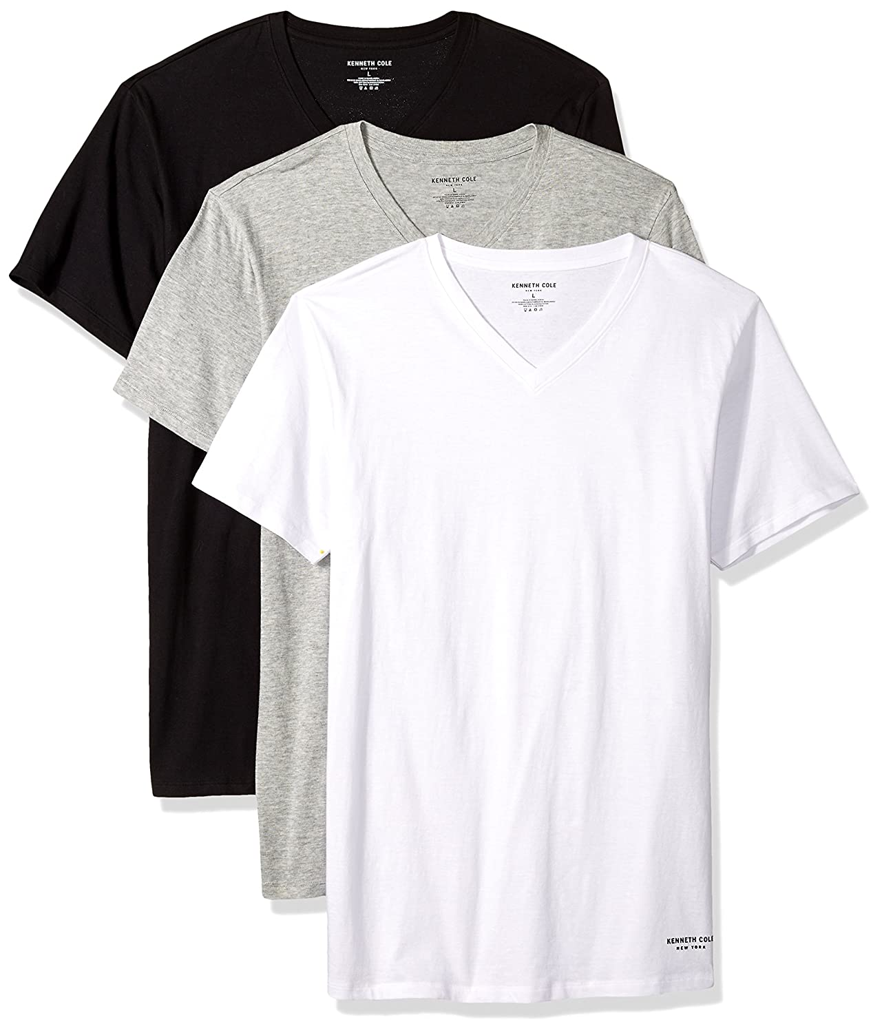 Kenneth Cole New York Mens Standard Novelty 3 Pack V Neck Tees RNM8702