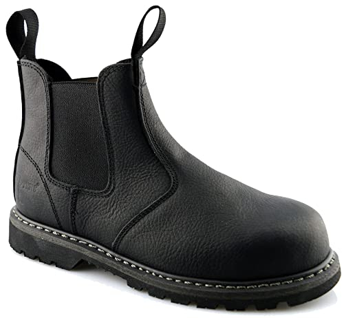 ed7cd6efbe6 Grafters Mens Leather Goodyear Welted Safety Dealer Chelsea Work Boots  Shoes Size 6-12