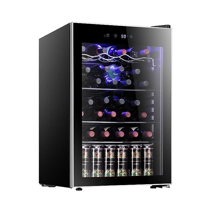 Antarctic Star 37 Bottle Wine Cooler/Cabinet Refigerator Small Wine Cellar Beer Counter Top Bar Fridge Quiet Operation Compressor Freestanding Black