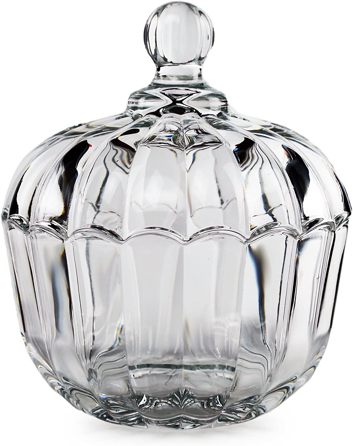 "Circleware 57207 Jubilee - Clear Candy Dish with Cover, 4.65"" x 5.91"","