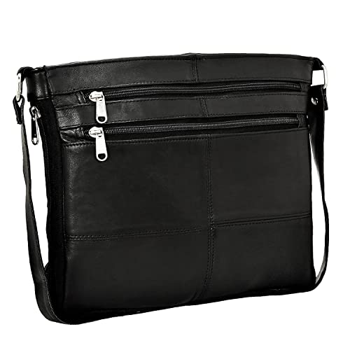 5ac381ad42e6 Real Leather Women Ladies Handbag Shoulder Bag Zip Compartment Soft Black  Nappa Cross Body Everyday  Amazon.co.uk  Shoes   Bags