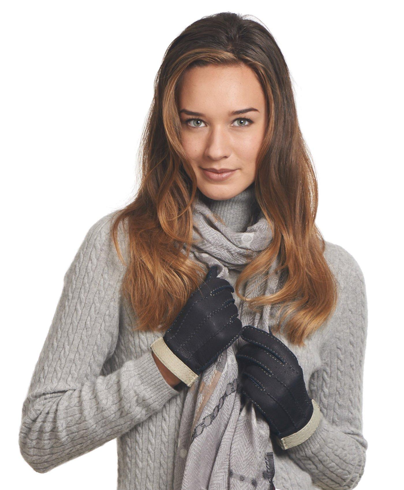 Fratelli Orsini Women's Italian Cashmere Lined Peccary Gloves Size 7 1/2 Color Cork by Fratelli Orsini (Image #6)