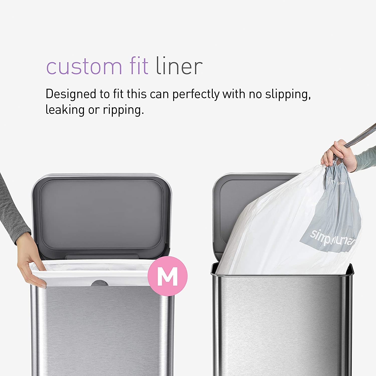 simplehuman 45 Liter Rectangular Hands-Free Kitchen Step Trash Can with Soft-Close, Brushed Stainless Steel with Plastic Lid: Home & Kitchen