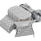 Papier kraft Candy Boîte cadeau Taie d'oreiller Box pour mariage fête d'anniversaire 50pcs - Silver Box