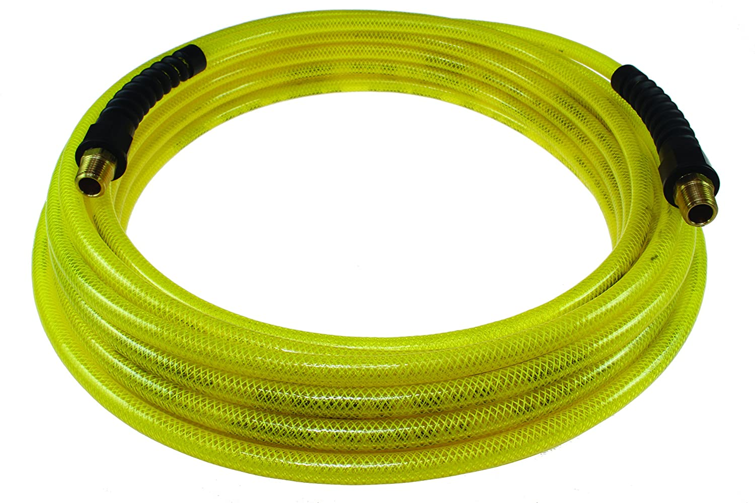 Coilhose Pneumatics PFE60254TY Flexeel Reinforced Polyurethane Air Hose, 3/8' ID, 25' Length with (2) 1/4' MPT Reusable Strain Relief Fittings, Transparent Yellow 3/8 ID 25' Length with (2) 1/4 MPT Reusable Strain Relief Fittings