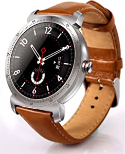 فن تيك ساعة ذكية شريط جلد متوافقة مع اندرويد و اي او اس,بني - TQSWK88HPLUSL011
