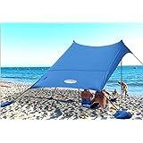 UMARDOO Family Beach Shade with 2 Aluminum Poles, Pop Up Beach Tent with Carrying Bag