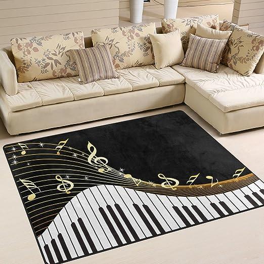 Musical Instrument Retro Piano Keyboard Area Rugs Bedroom Living Room Floor Mat