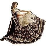 Panash Trends Women's Heavy Embroidery Work Satin Chiffon Net Saree