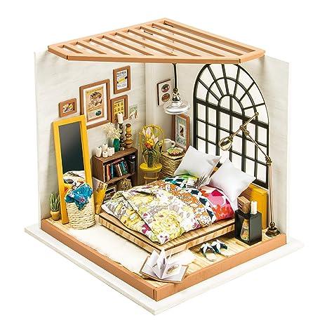 Robotime Dormitorio de Madera Mu?ecas Casa Muebles y Accesorios Bricolaje Casa Adorable en Miniatura