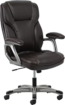 Ergonomic High-Back Leather Executive Office Chair with Arms