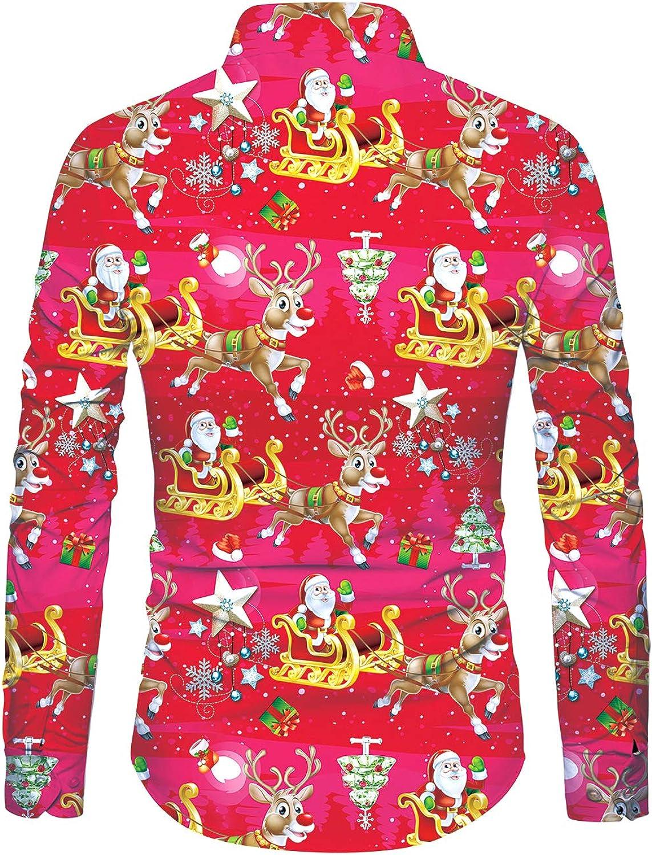 Funnycokid Hombre Navidad Ugly Christmas Camisas Impresión Flamenco Manga Larga con Botón Ropa de Fiesta Hombre Blusas: Amazon.es: Ropa y accesorios