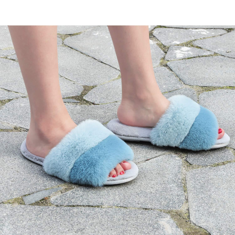 Snug Leaves Damen Memory Foam Hausschuhe Flauschige Kunstpelz Open Toe Nette Bequeme Flache Gem/ütliche Hausschuhe bei LongBay